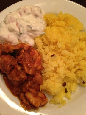 Indian Food Recipe – Boneless Chicken Curry with Lemon Rice and Yogurt Salad