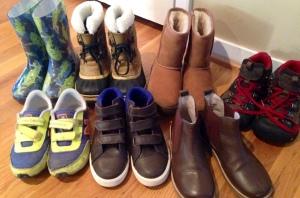 Boys Shoes:  Kamik Rainboots, Sorel Snow Boots, Uggs, Keen waterproof boots, NB Sneakers, Boden Sneakers, Boden Chelsea Boots
