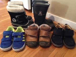 Toddler Shoes:  Sorel Snow Boots, Kamik Rain Boots, Adidas Sneakers, Keen Boots, Kid Express or Primigi Boots